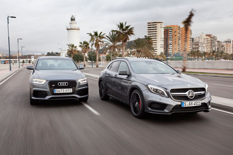 Audi RS Q3 vs. Mercedes GLA 45 AMG (Quelle: Press-Inform)
