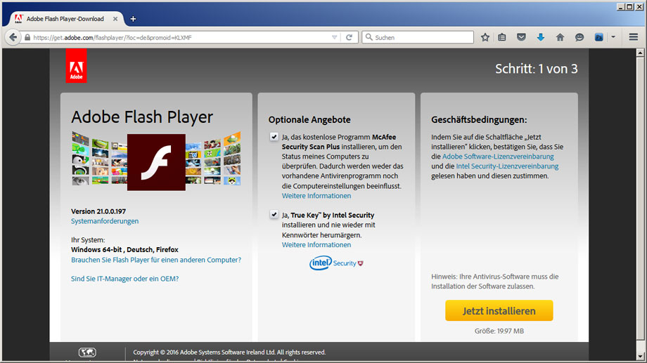 Flash Player-Seite von Adobe (Quelle: t-online.de)