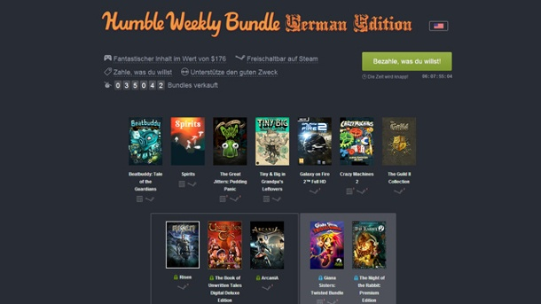 "Neues Humble Weekly Bundle ""German Edition""-Paket ist gestartet. Humble Weekly Bundle German Edition (Quelle: Humble Bundle Inc. )"