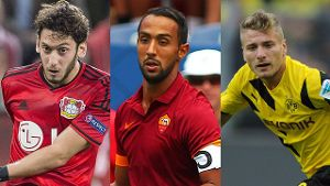 Die Top-Transfers Hakan Calhanoglu, Mehdi Benatia, Ciro Immobile (von links)