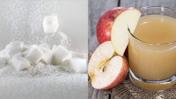 Zucker: Schon ein Glas Apfelsaft ist zu viel. In einem Glas Apfelsaft stecken bis zu 24 Gramm Zucker.  (Quelle: Thinkstock by Getty-Images/Montage: t-online.de)