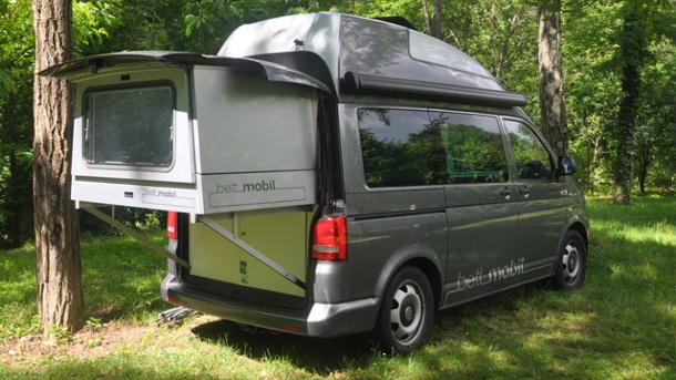 vw t5 bettmobil dieses wohnmobil hat einen schlaf schublade. Black Bedroom Furniture Sets. Home Design Ideas