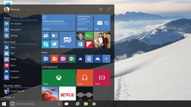 Microsoft Windows 10: Beta-Version als Gratis-Download. Startmenü von Windows 10 (Quelle: Microsoft)