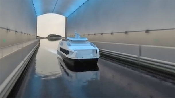 Norwegen: Regierung stimmt Bergtunnel für Schiffe zu. Dies ist ein erster Entwurf, wie der Tunnel aussehen könnte. (Quelle: youtube/ Norwegian Coastal Administration/ Appex Norway)