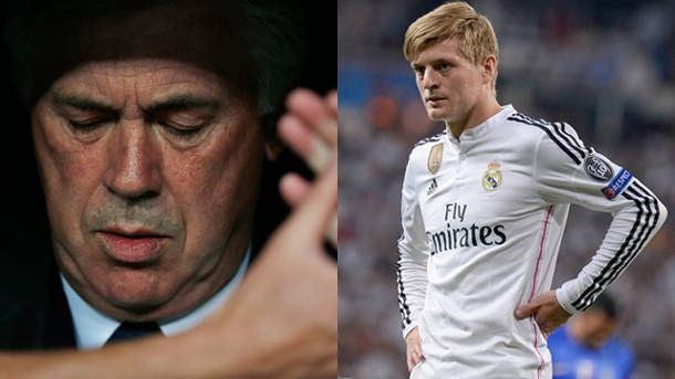 Real Madrid: Toni Kroos hält Plädoyer für Carlo Ancelotti. Toni Kroos (re.) stärkt Trainer Carlo Ancelotti den Rücken.  (Quelle: AP/ imago/photo2press)