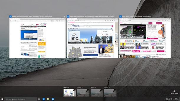 Desktop von Windows 10 einfach klonen. Windows 10 mit virtuellen Desktops. (Quelle: t-online.de)