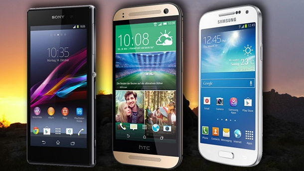 Galaxy S5 mini, Xperia Z3 Compact & Co: Was die kleinen Top-Smartphones taugen. Sony Xperia Z1 Compact, Samsung Galaxy S4 mini, HTC One mini 2 (Quelle: t-online.de)