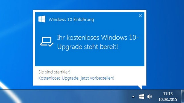 Windows 10-Upgrade: Microsoft macht mit Pop-Ups Druck. Windows 10 kommt als Download-Paket. (Quelle: t-online.de)