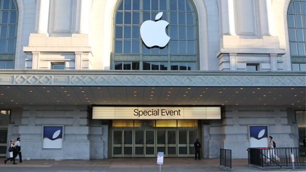 Apple enthüllt neue iPhone-Modelle mit 3D-Touch-Steuerung. Apple-Event im Bill Graham Civic Auditorium in San Francisco  (Quelle: dpa)