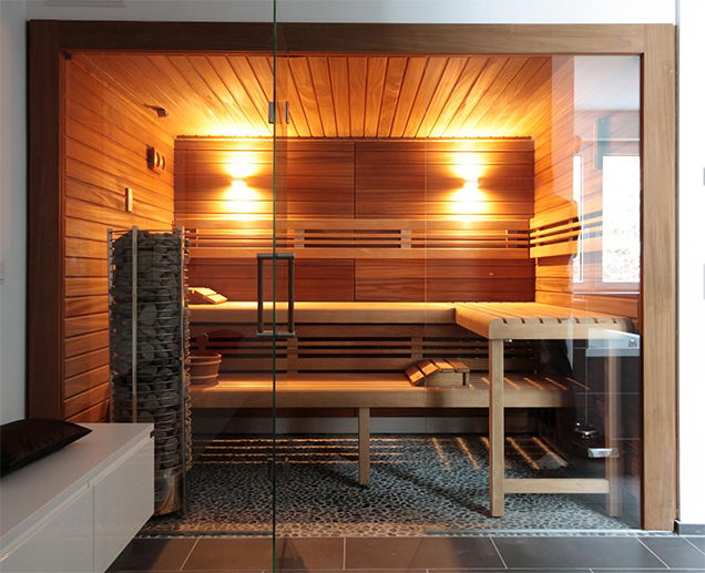 so macht schwitzen freude diese luxuri se sauna mit. Black Bedroom Furniture Sets. Home Design Ideas
