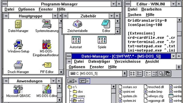 Software-Panne in Paris: Uralt-Windows 3.1 legt Flughafen lahm. Desktop-Ansicht von Windows 3.1 (Quelle: Hersteller)