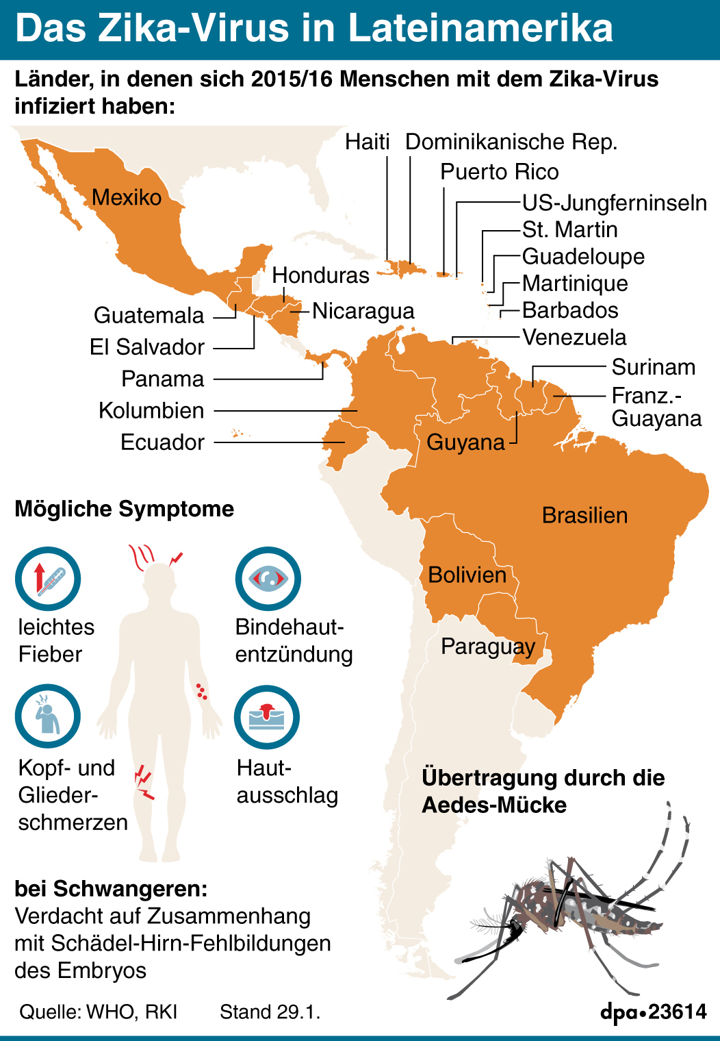 Das Zika-Virus in Lateinamerika (Quelle: dpa)