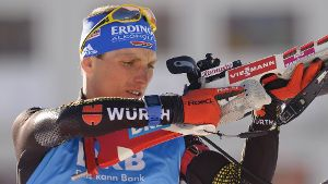 Biathlet Erik Lesser verpasst das Podest beim Single-Mixed in Canmore deutlich.