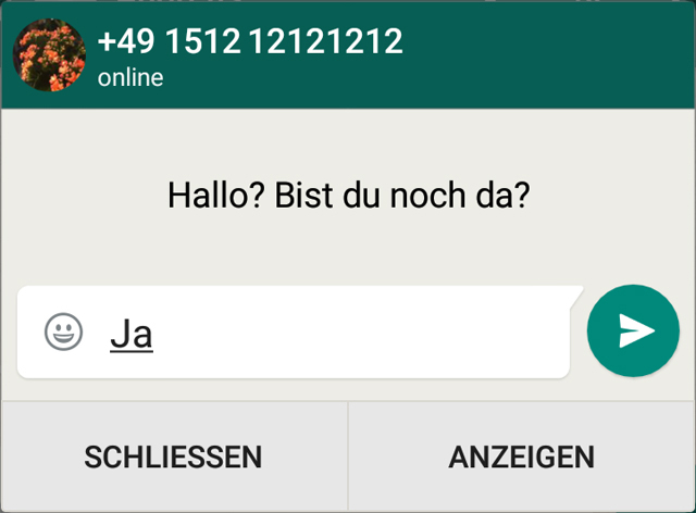 "Mit der Funktion ""Quik Reply"" legt WhatsApp ein Popup-Fenster über aktive Drittanbieter-Apps. (Quelle: t-online.de/Screenshot: WhatsApp)"