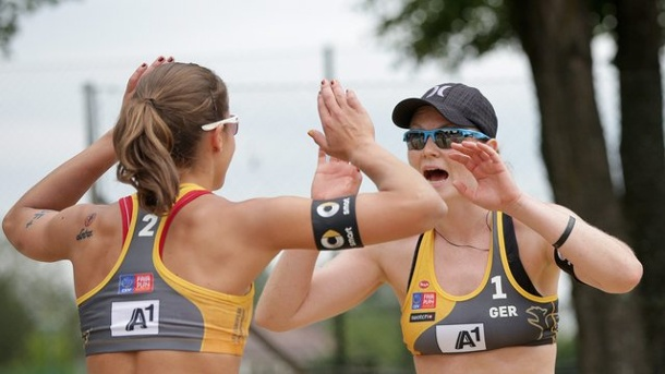 Beach-Volleyball: Beach-Duo Laboureur/Sude Vierter in Xiamen. Chantal Laboureur (l) und Julia Sude belegten in China den vierten Platz.