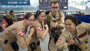 Cosplayer im 'Ghostbusters'-Outfit.