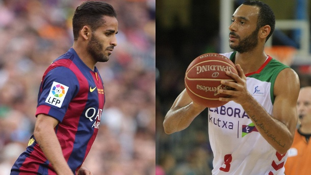 Basketballer Hanga für Fußballer vom FC Barcelona im Tausch. Wechselspiel: Fußballer Douglas (links) soll gegen Basketballer Adam Hanga getauscht werden. (Quelle: imago/Panoramic/Gordon Press)