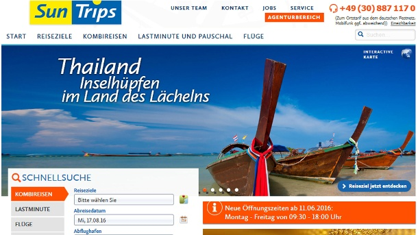 Suntrips hat Insolvenz angemeldet.  (Quelle: Screenshot/Homepage Suntrip )