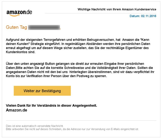 Screenshot einer gefälschten Amazon-Phishingmail. (Quelle: Screenshot t-online.de)