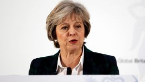Theresa May bei ihrer Rede im Lancaster House in London.