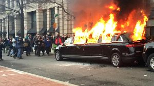 Flammender Protest nach Donald Trumps Amtseinführung in Washington.