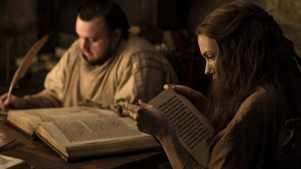 "John Bradley als Samwell ""Sam"" Tarly und Hannah Murray als Goldy - Game of Thrones (Quelle: Helen Sloan / HBO)"