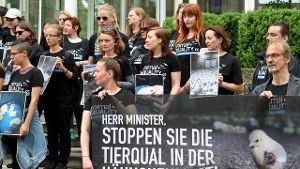 Protest von Animal Equality (Quelle: dpa)