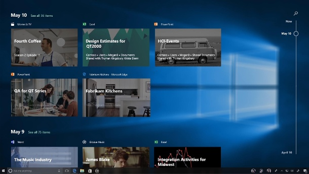 Die Timeline-Funktion in Windows 10 von Microsoft  (Quelle: Microsoft)