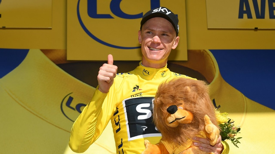 Tour-Favorit Chris Froome fährt wieder in Gelb. (Quelle: dpa/David Stockman)