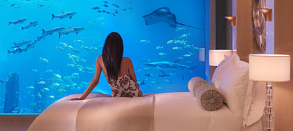 "Aquarium in der Poseidon Suite im Mega-Resort ""Atlantis"" (Foto: srt)"