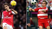 Arsenals Flamini (l.) und Bayerns Lahm (Fotos: imago)