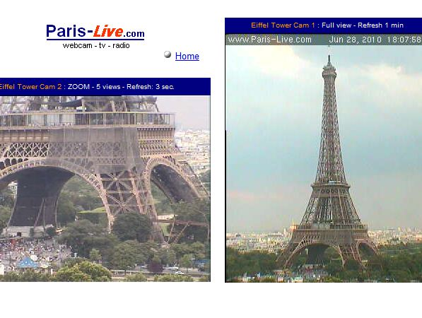 Eiffelturm Webcam aus Paris. (Screenshot: t-online.de)