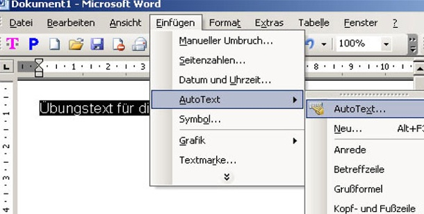 Word: AutoText nutzen. AutoText in Word 2003