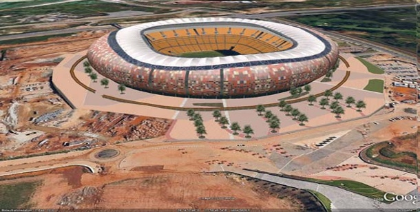"WM Stadien in Google Earth. Final-tauglich: Das prächtige Nationalstadion ""Soccer City"" in Johannesburg. (Foto: Google Earth)"