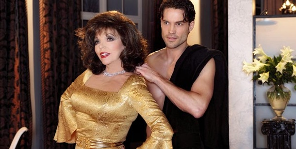 "Joan Collins bei ""Verbotene Liebe"": Hollywood-Glamour in Daily-Soap. Das ""Denver-Clan""-Biest Joan Collins spielt bei ""Verbotene Liebe"" mit. (Foto: ARD)"