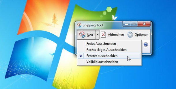 Windows 7: Screenshot machen mit dem Snipping-Tool. Screenshot machen unter Windows 7 mit dem Snipping Tool. (Screenshot: t-online.de)