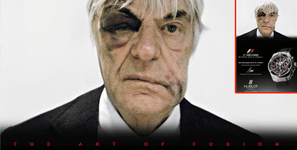 formel 1 boss bernie ecclestone verr ckte werbekampagne mit blauem auge. Black Bedroom Furniture Sets. Home Design Ideas