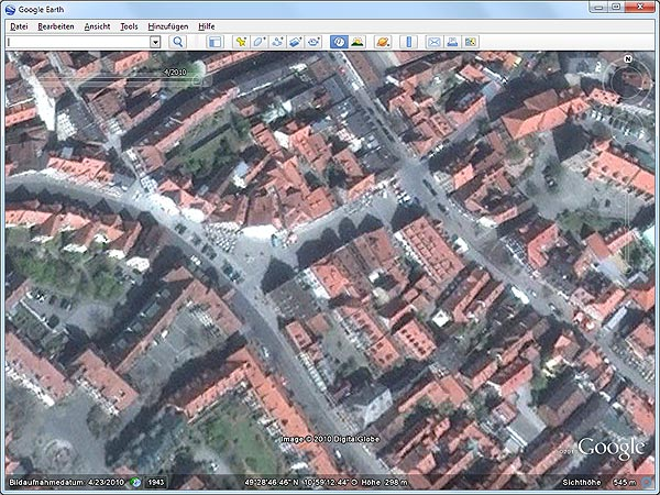 Karten-Update in Google Earth (Screenshot: t-online.de)