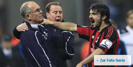 Gattuso würgt Tottenhams Co-Trainer. Gattuso attackiert Tottenhams Co-Trainer Jordan. (Foto: imago)