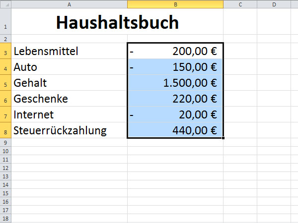 excel positive und negative zahlen kennzeichnen screenshot t 1. Black Bedroom Furniture Sets. Home Design Ideas