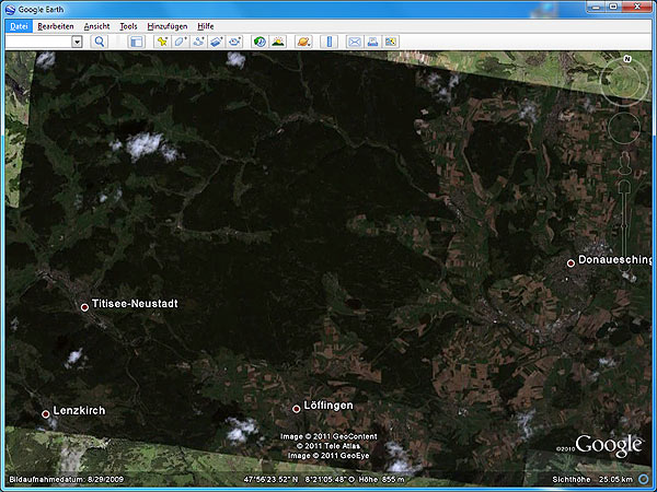Google Earth: Schwarzwald (Screenshot: t-online.de)