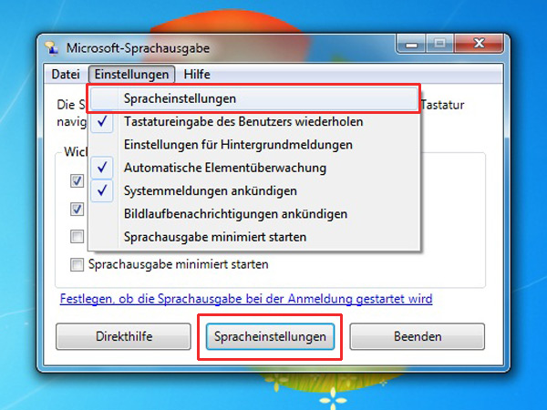 sprachausgabe windows 7