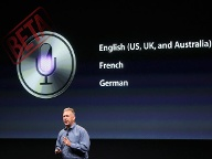Phil Schiller demonstrierte den sprachgesteuerten Assistenten Siri. (Quelle: Reuters)