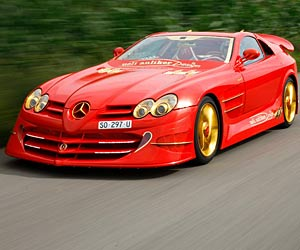 Getunter Mercedes SLR: Ein rot-goldener Teufel. Der Mercedes SLR 999 Red Golden Dream von Ueli Anliker. (Quelle: Hersteller)