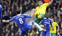 Premier League: Chelsea bleibt in Norwich torlos. Frank Lampard (links) im Zweikampf mit Bradley Johnson von Norwich City. (Quelle: imago)