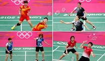 Manipulations-Skandal: acht Badminton-Spielerinnen ausgeschlossen. Chinas Wang Xiaoli (li.) und Yang Yu, Südkoreas Jung Kyung Eun (oben) and Kim Ha Na, Indonesias Greysia Polii and Meiliana Jauhari and Südkoreas Ha Jung-eun (li.) und Kim Min-jung werden hart bestraft. (Quelle: Reuters)