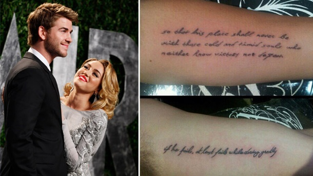 liebesbeweis miley cyrus und liam hemsworth tragen partner tattoo. Black Bedroom Furniture Sets. Home Design Ideas