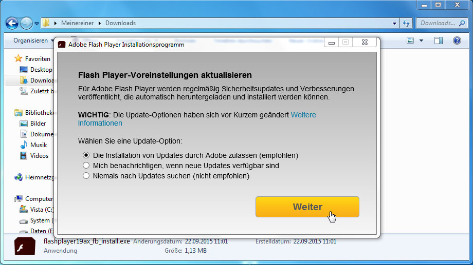 Flash Player-Update (Quelle: t-online.de)