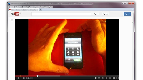 iOS 6.1: iPhone-Sperre ist umgehbar, Apple kündigt Update an. Screenshot von YouTube. (Quelle: t-online.de)