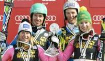 Nach Sieg im Team-Event: Neureuther will mehr. Veronique Hronek, Felix Neureuther, Fritz Dopfer und Lena Dürr (v.